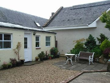 Minishant farmhouse rental - courtyard patio, garden to rear of house