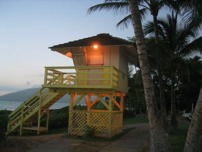 Life guard station at dusk