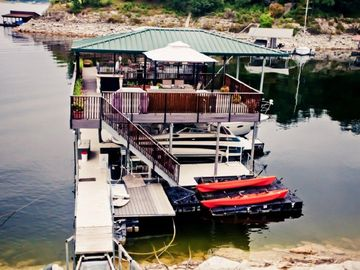 Two Story Boat Dock with gas firepit & dock swing.