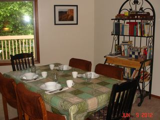 Kalama house photo - Dining area in Great Room, large windows; french doors to riverside deck; picnic table