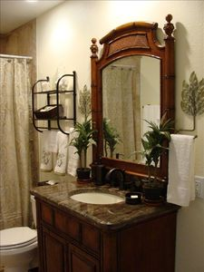 Guest bathroom with bathtub and shower