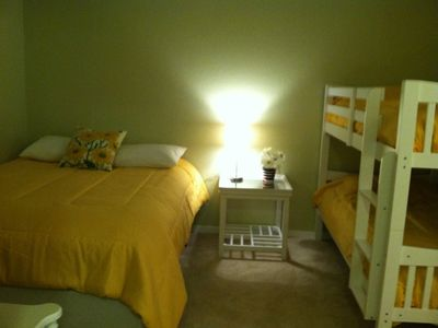 Second Bedroom. Bunk beds and queen Bed.