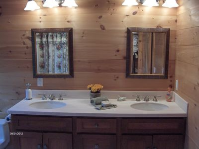 Displaying typical ambience inside one of the five bathrooms