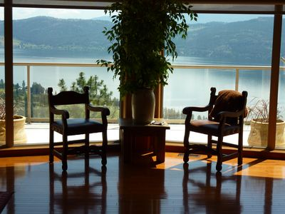 spectacular 180 degree view of lake as you enter our home