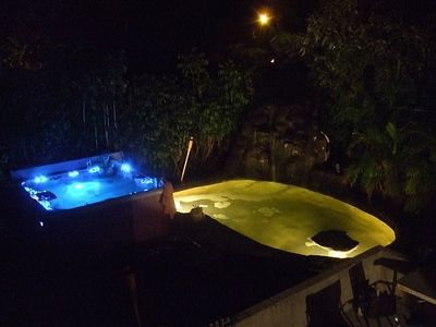 8 Person Hot Tub, Koi Pond, and waterfall
