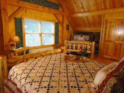Bridgton lodge rental - Large Bedroom in Loft with Full and Queen Bed, Built in Dressors, & Large Closet
