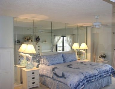 Listen to the sound of the surf from the Master Bedroom in dolphin decor!