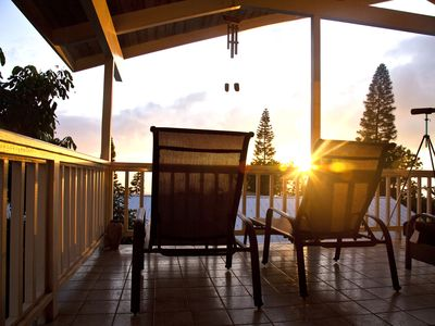 Relax and watch the sunset from the upstairs lanai. Great ocean view!