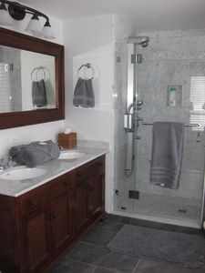 ....and has an ensuite all-marble European shower