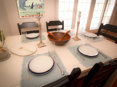 Dining table seats 6 with great natural light