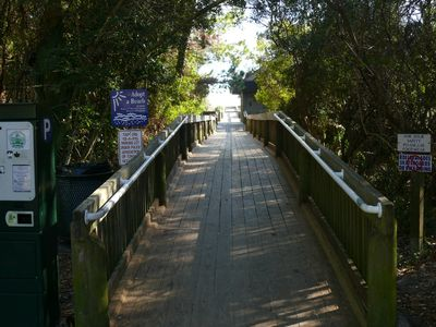 Boardwalk to the beach with restrooms
