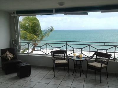 Luquillo condo rental - This is the view from the living room and kitchen. Entire condo opens to ocean.