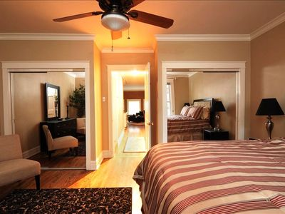 A King bed and two closets are provided in the bedroom