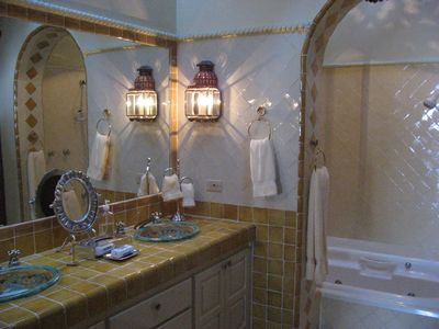 Master suite bath with beautiful tile workk