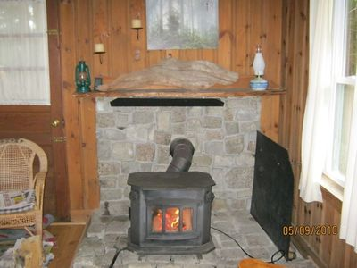 the cheery woodstove takes the chill off the cool Maine mornings