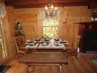 A rustic dining table- feel free to lengthen w/ the extensions & extra chairs