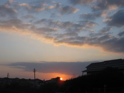 Port Aransas condo rental - Sunset on parking lot side.
