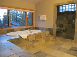 Incline Village house photo - Master bathroom with gorgeous slate tiles, large tub and shower!