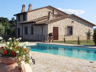 Collazzone farmhouse photo - View from pool to house.