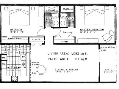 Approximate Floorplan of Unit.   Plenty of room to relax and enjoy the beach!