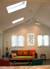 Sag Harbor cottage photo - Living Room w/Vaulted Ceiling & Mid-Century Modern Furnishings