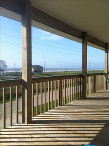 A beautiful view of the beach from your covered deck