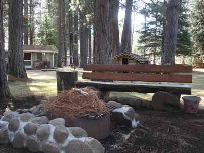 Outdoors Fire Pit with log bench around it