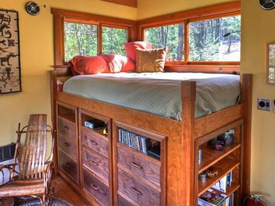 Queen-Sized Loft Bed with View of the Woods