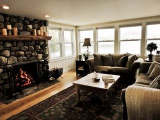 Fryeburg cottage photo - Wood burning fireplace to warm a chilly summer/fall evening.