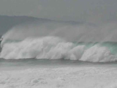 Big winter waves in front of the house