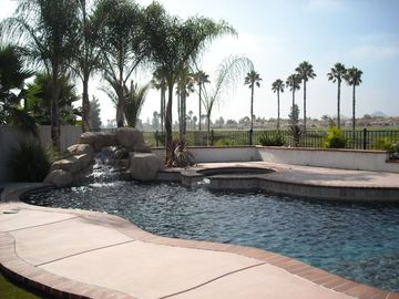 Canyon Lake house rental - Swimming pool and spa with rock waterfall