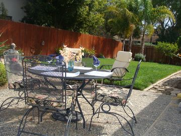Hope Ranch house rental - Patio setting with large green area and fenced yard
