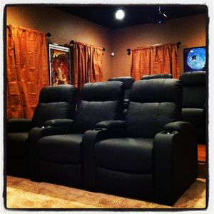 Basement movie theatre.