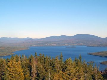 Rangeley Lake, View from Bald Mountain. Cabin on left side (north shore)
