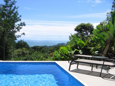 Ocean view from pool deck - see The Whales Tail & coastline upto Manuel Antonio
