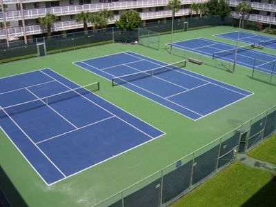 Six lighted tennis courts...