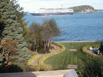 Bar Harbor estate rental - Ocean liner anchored for the day in front of Devilstone.