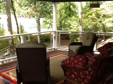 Hot Springs Village house rental - Soothing relaxing back porch. Can u hear the fountain?