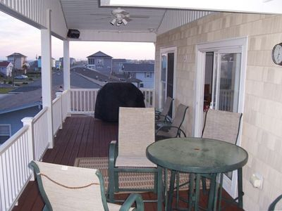 Large covered deck with gas grill.  Great ocean view.