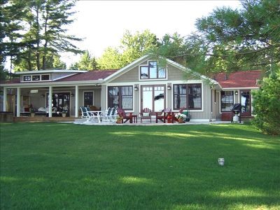 Bear Lake house rental - Lakeside view; amazing outdoor living spaces, grilling area, firepit and hot tub