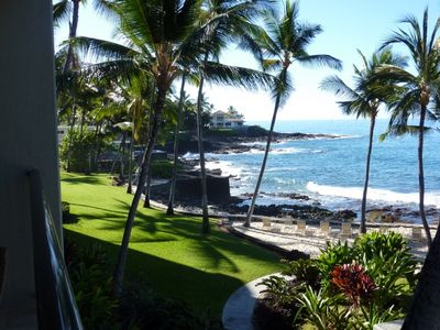 Gorgeous Oceanfront View from Lanai over grassy area