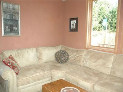 Media Room  Pottery Barn sofa has a very comfortable queen sofabed,- flat screen