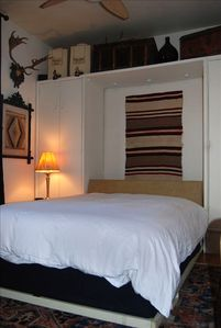 Queen murphy bed, view with bed down