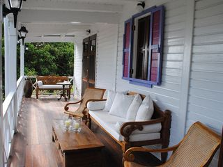 Gingerland villa photo - CocoHut Veranda with Views of Rodonda and Monserrrat