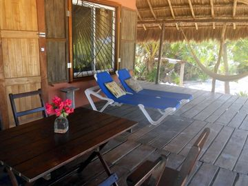 Huge Palapa Porch with 2 of 4 beach chairs