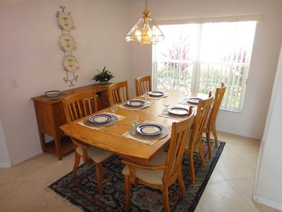 Large dining room with seating for six