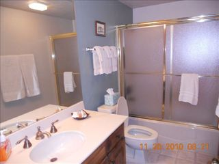 Durango condo photo - Downstairs bathroom with plenty of soft towels - tub and shower