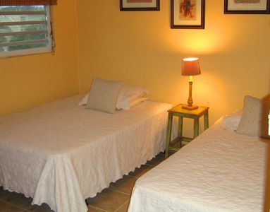 Rincon villa rental - Room has Ceiling Fan, AC Inverter,full & twin size beds.