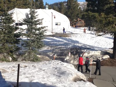 Mammoth Lakes condo rental - A look at Eagle Lodge from your balcony!