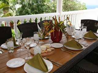 Curacao villa photo - Teak dining table seats 8.